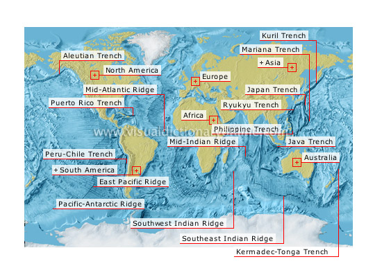 ocean trenches and ridges